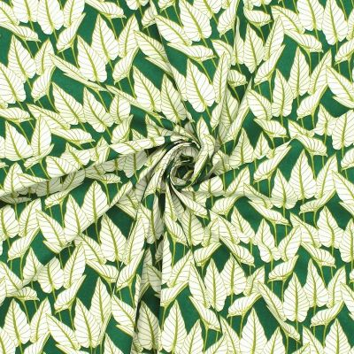Printed cotton with foliage - green