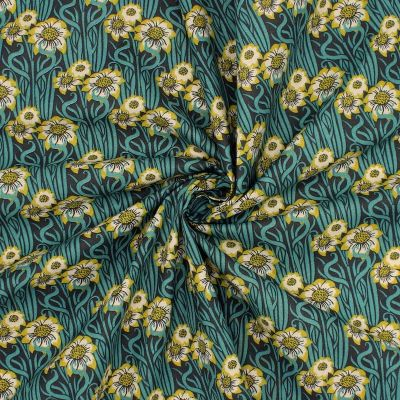 Cotton printed with art deco flowers
