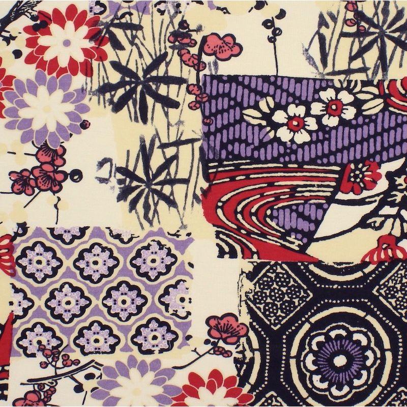 Tissu extensible imprimé fleurs