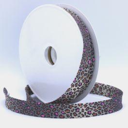 Bias binding with leopard print - pink