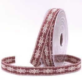 Embroidered felt ribbon - burgondy