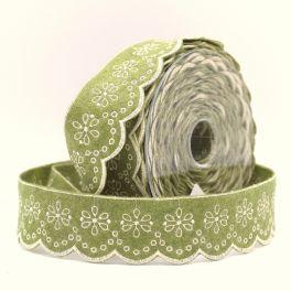 Embroidered felt ribbon - Khaki