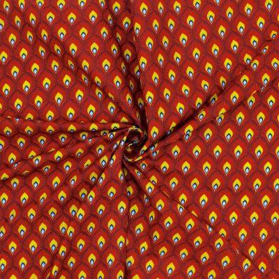 Tissu en coton imprimé sur fond bordeaux