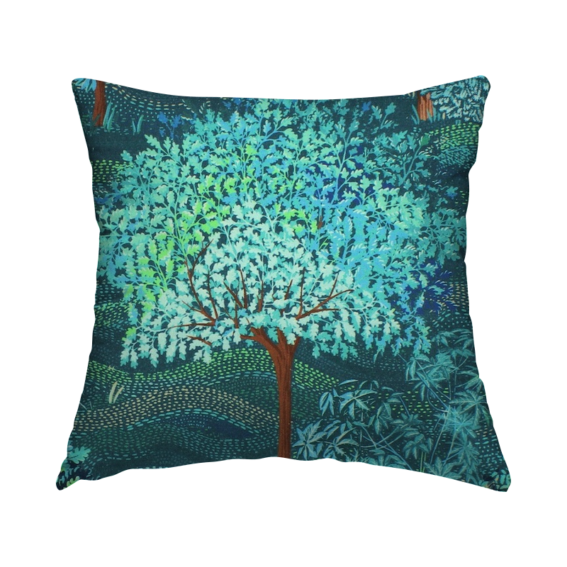 Cotton with digital print - teal