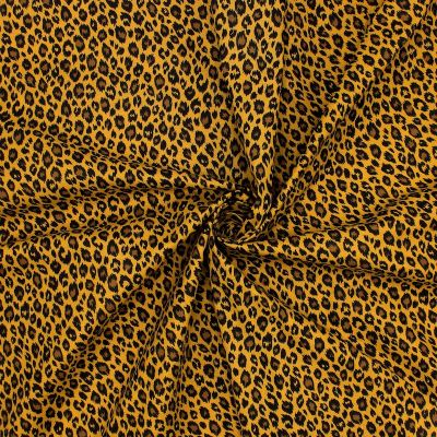 Cotton with leopard print - mustard yellow