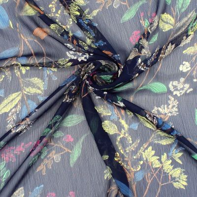 Crumpled veil with flowers
