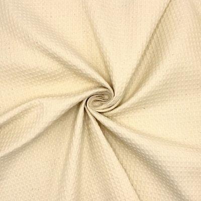 Piqué de coton gaufré nid d'abeille blanc cassé
