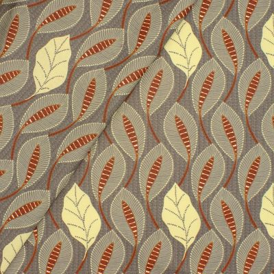 Coated cotton with foliage print - grey