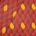 Coated cotton with foliage print - red