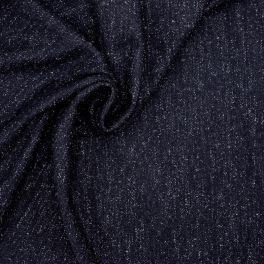Gemarmerd stof in wol - marineblauw