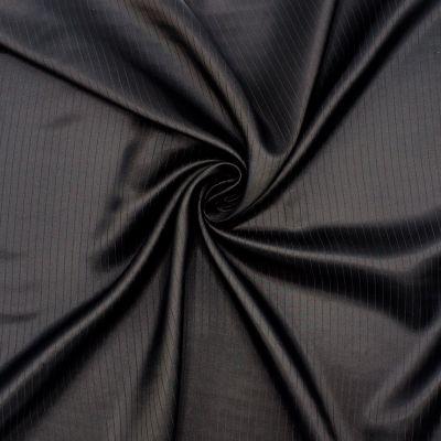 Satinised jacquard lining fabric with stripes - black