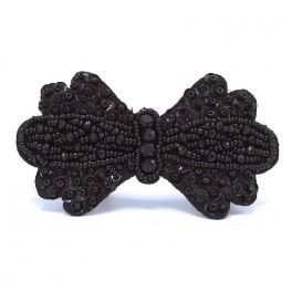 Bow tie with pearls to sew - black