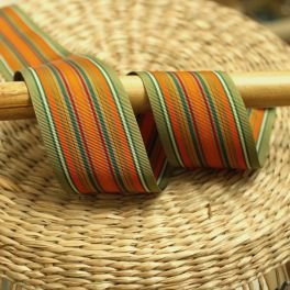 Striped fantasy ribbon - green and orange