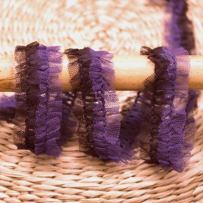 Pleated tulle - purple and eggplant color