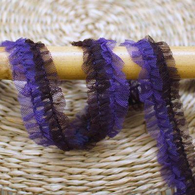 Geplooide tul - blauw en aubergine