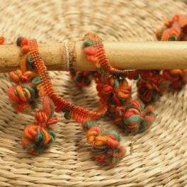 Braid trim with pompoms - green and orange