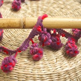 Braid trim with pompoms - purple and fuchsia