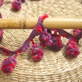 Galon à pompons violet et fuchsia