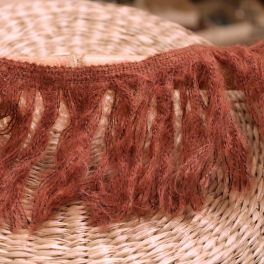 Braid trim with fringes - rust brown