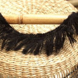 Braid trim with fringes - black