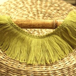 Braid trim with fringes - lime green