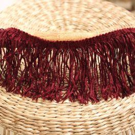 Braid trim with fringes - wine red