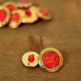 Button with flowers - red and gold