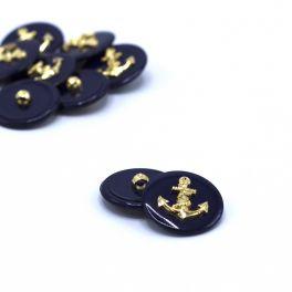 Resin button - navy blue and golden anchor