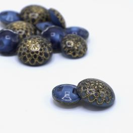 Vintage resin button - blue and gold