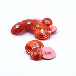 Round resin button - coral