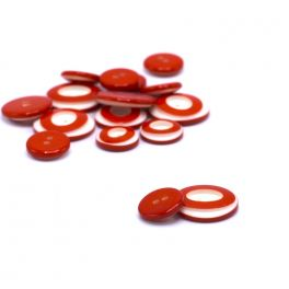 Resin button - red and off white