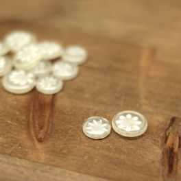 Two-toned button transparant and white