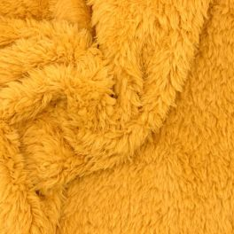 Tissu polyester sherpa moutarde