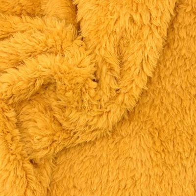 Tissu polyester sherpa moutarde