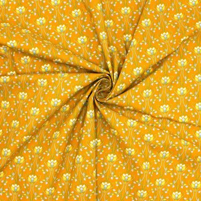 Cotton with patterns - mustard yellow background