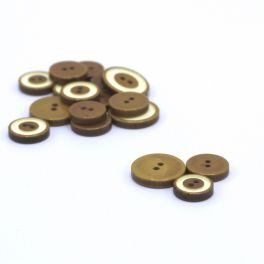 Resin button - mustard yellow and cream