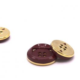 Round button - burgondy and gold
