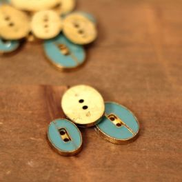 Button - teal and gold
