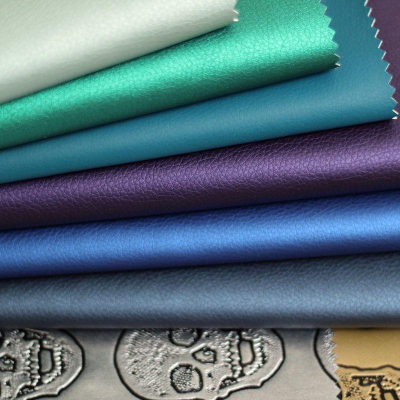 Kunstleer - gesatineerd blauw