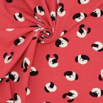 Jersey fabric with dog prints - red