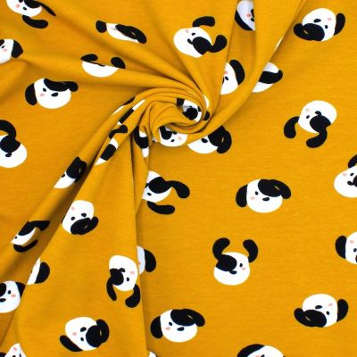 Jersey fabric with dog prints - mustard yellow