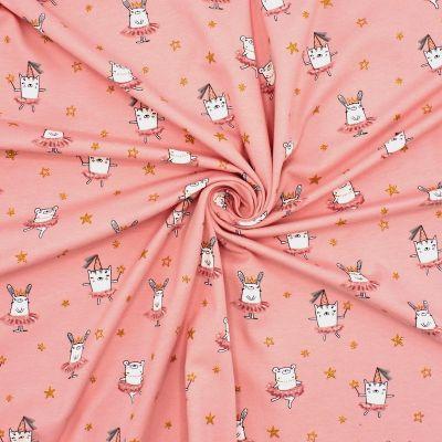 Tissu jersey rose imprimé animaux