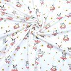 Tissu jersey blanc cassé imprimé animaux