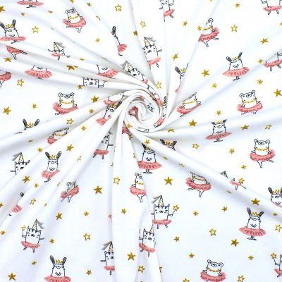 Jersey fabric with animal print - off white