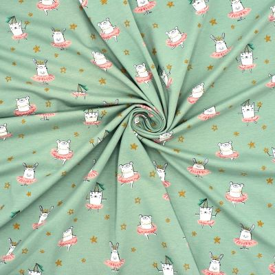 Jersey fabric with animal print - green