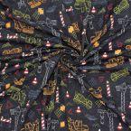 Tissu jersey anthracite chiné imprimé chantier