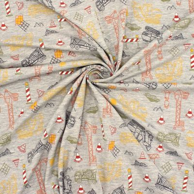 Jersey fabric with building site - mottled mid grey