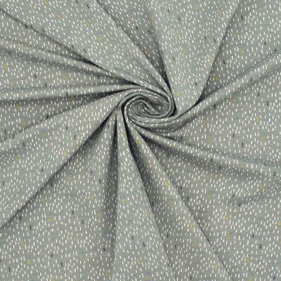 Tissu jersey gris imprimé