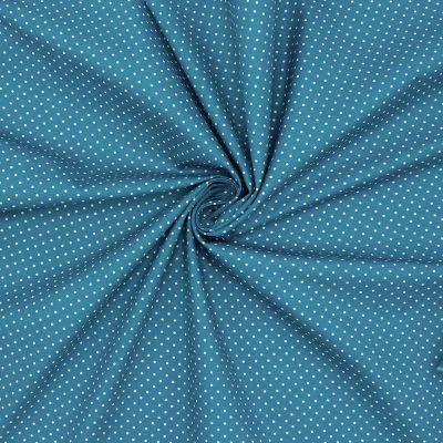 Tissu en coton à pois sur fond bleu