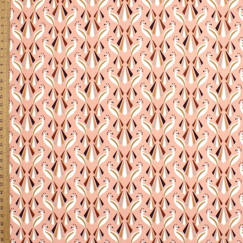 Coton imprimé paon sur fond rose